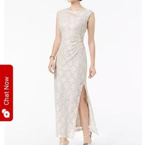 Connected Champagne Gold Full Length Evening Gown